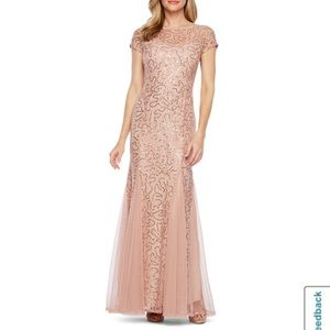 Blu Sage Short Sleeve Sequin Lace Evening Gown 14